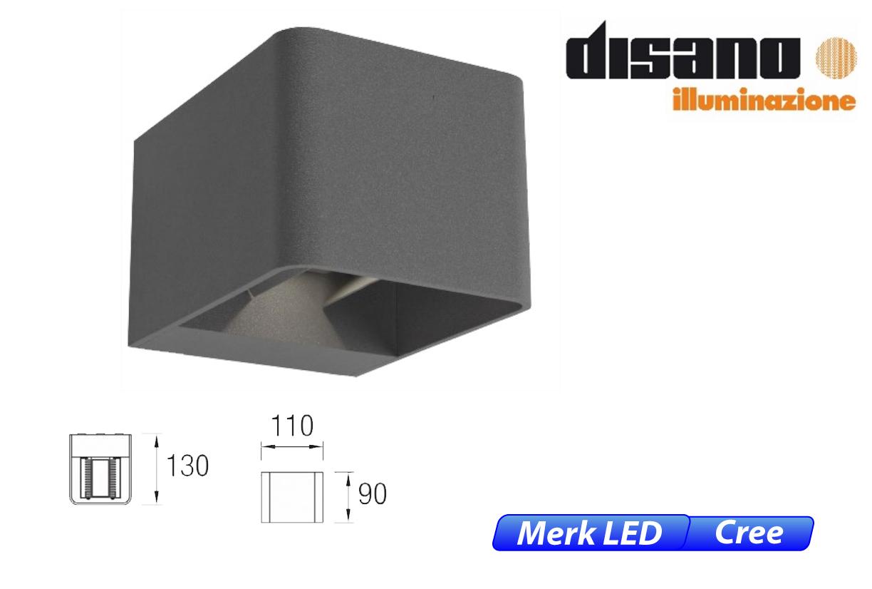 Wilson LED up-& downlighter 9W 855lm 830 IK08 donker grijs