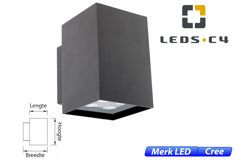Afrodita LED up-& downlighter 17,4W 1296lm 830 IK04 donker grijs