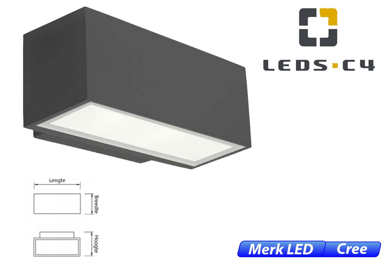 Afrodita LED up-& downlighter 17,5W 1908lm 830 IK04 donker grijs
