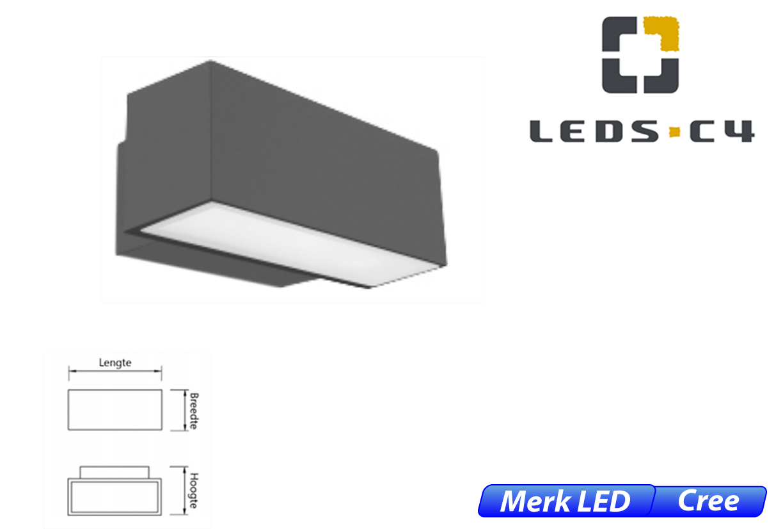 Afrodita LED up-& downlighter 39W 4198lm 830 IK04 donker grijs