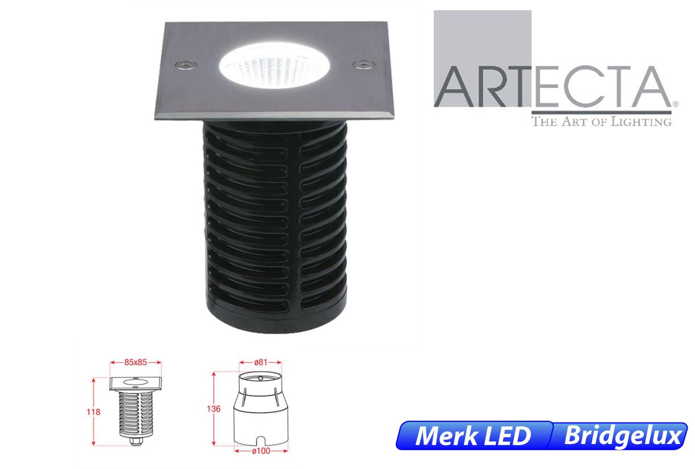 Reno LED vast vierkant 7W 450lm 830 IK09 RVS