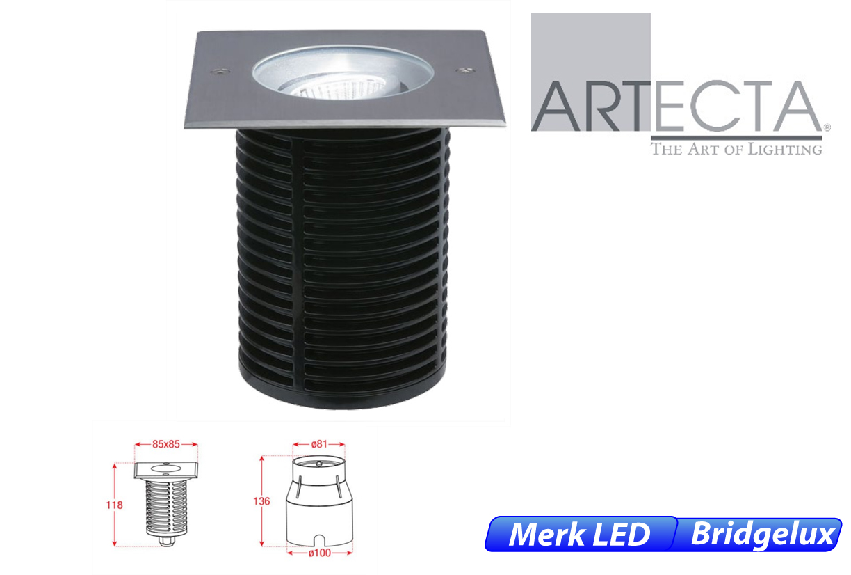 Reno LED kantelbaar vierkant 7W 550lm 830 IK09 RVS