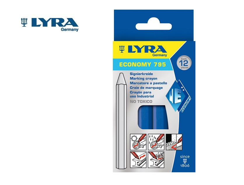 Lyra 795 Merkstift/-krijt Blauw 6 kant. 11x110mm ECONOMY