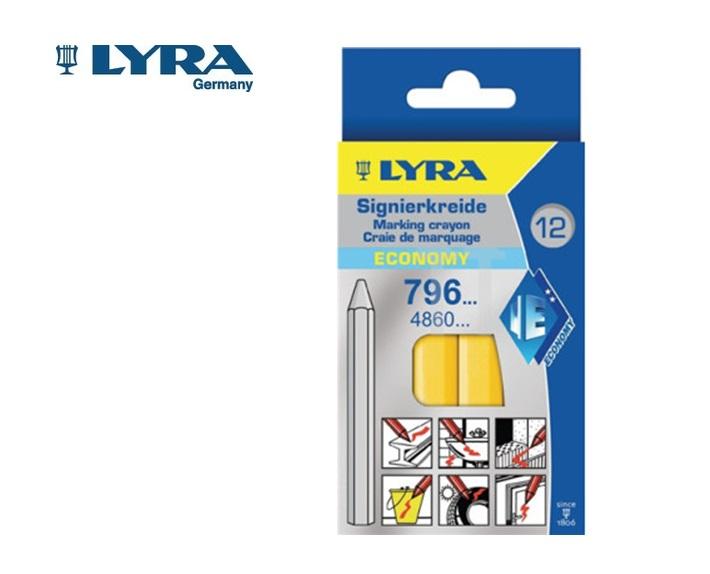 Lyra 796 Wasmerkkrijt Geel 6 kant. 11x120mm 12 st./doos LYRA