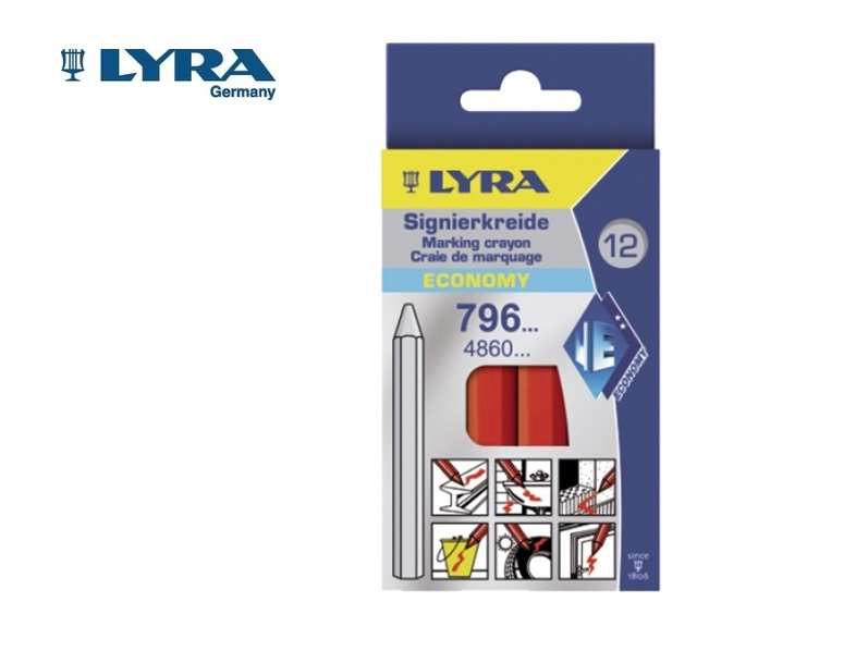 Lyra 796 Wasmerkkrijt Rood 6 kant. 11x120mm 12 st./doos LYRA