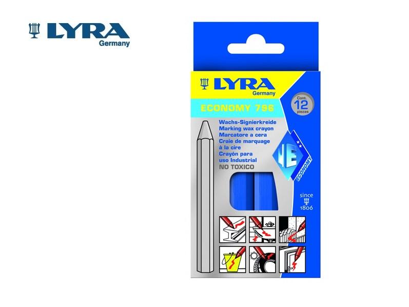 Lyra 796 Wasmerkkrijt Blauw 6 kant. 11x120mm 12 st./doos LYRA