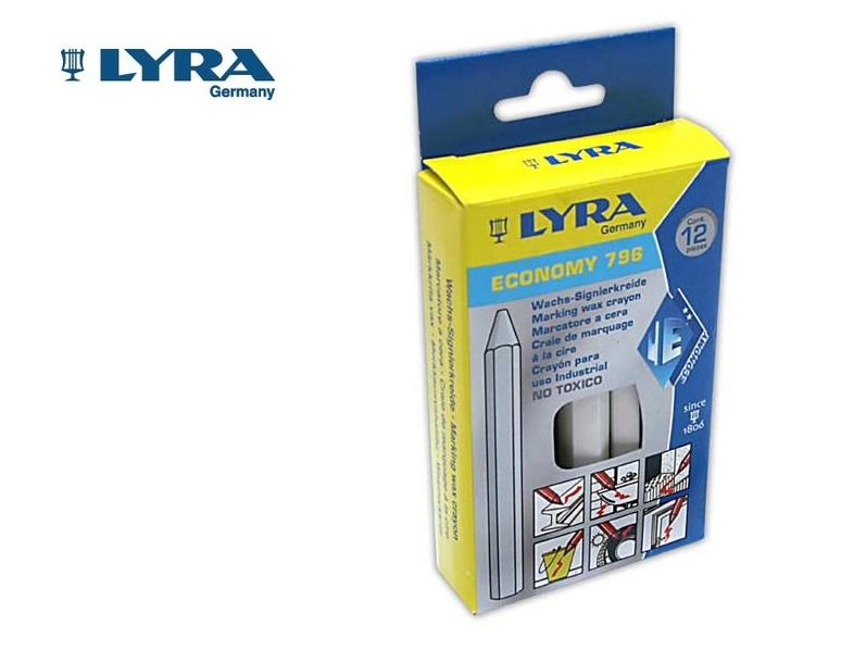 Lyra 796 Wasmerkkrijt Wit 6 kant. 11x120mm 12 st./doos LYRA
