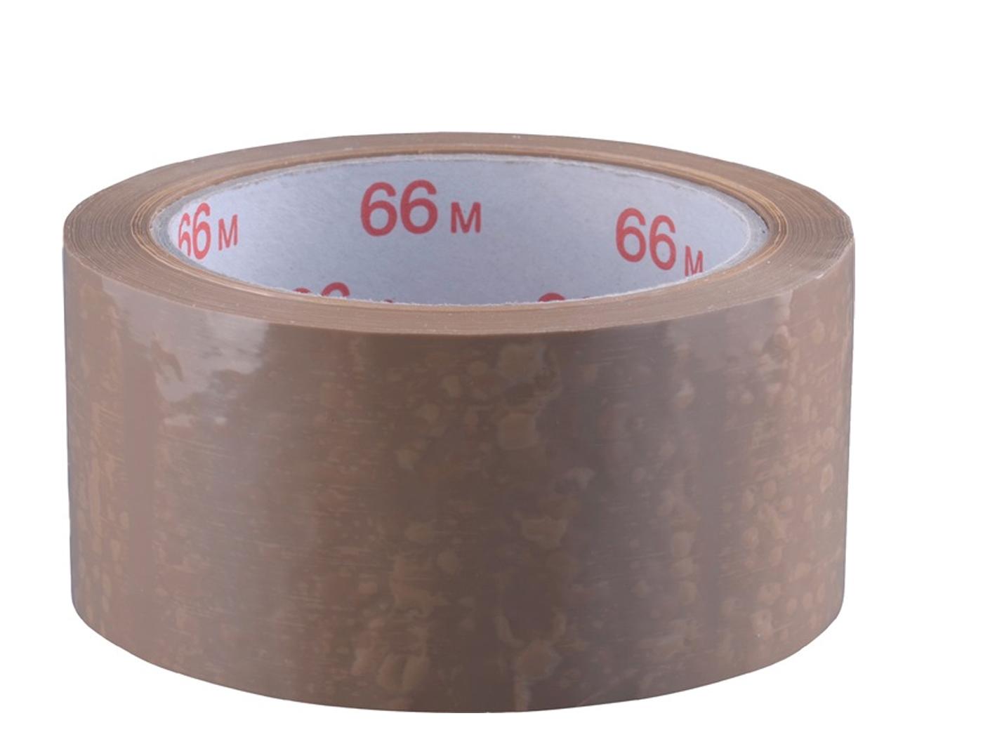 Verpakkingsplakband PVC lengte 66m B. 50mm bruin pvc-folie rol