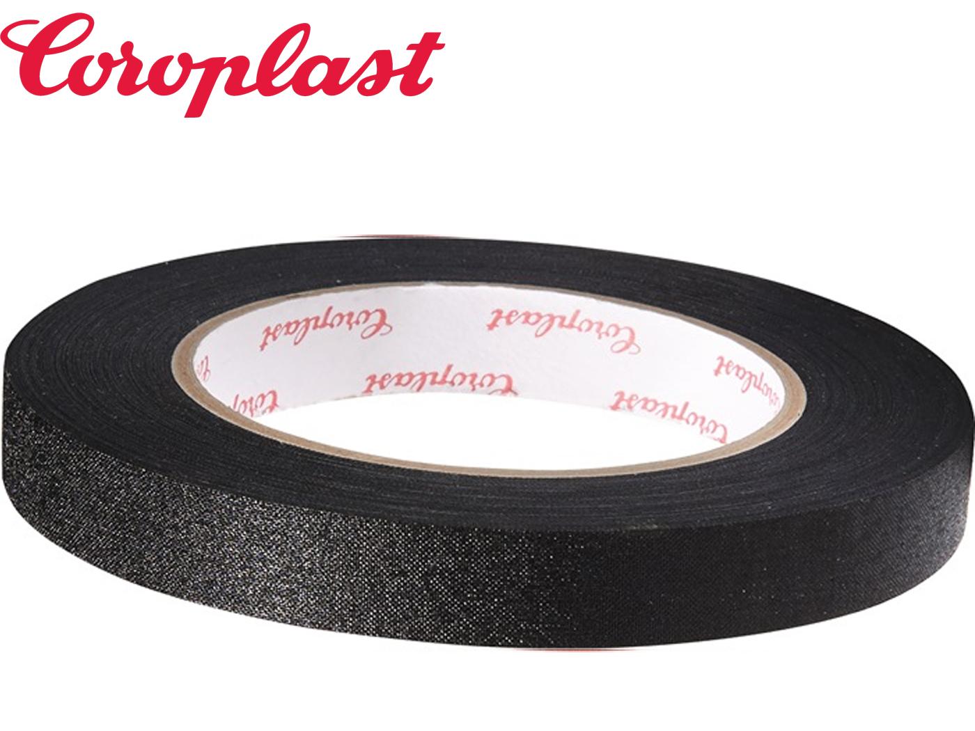 Textielversterkte tape zwart 0,28mm x15mm x25m zwart rol COROPLAST