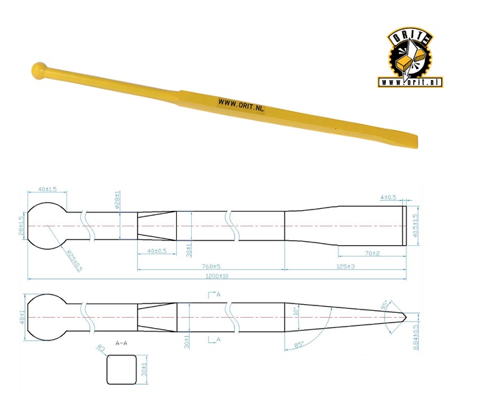 Stootijzer 1200 mm rond 580 mm, vierkant 720 mm