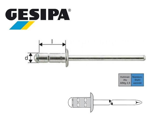 Gesipa Polygrip 3.2x 8mm Plat bolkop aluminium-staal 0,5 - 5,0