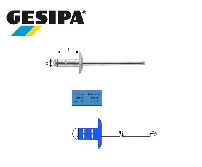 Gesipa Polygrip 4.0x13mm staal/staal met grote kop 4.5 - 9.0mm
