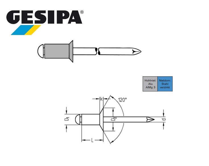 Gesipa standaard blindklinknagels met verzonken kop 3x6mm 1,5-3,5mm