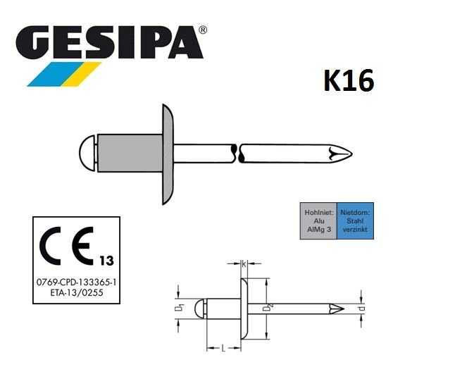 Gesipa Blindklinknagel alu-staal K16 4,8x 8mm 2.5 - 4.5mm