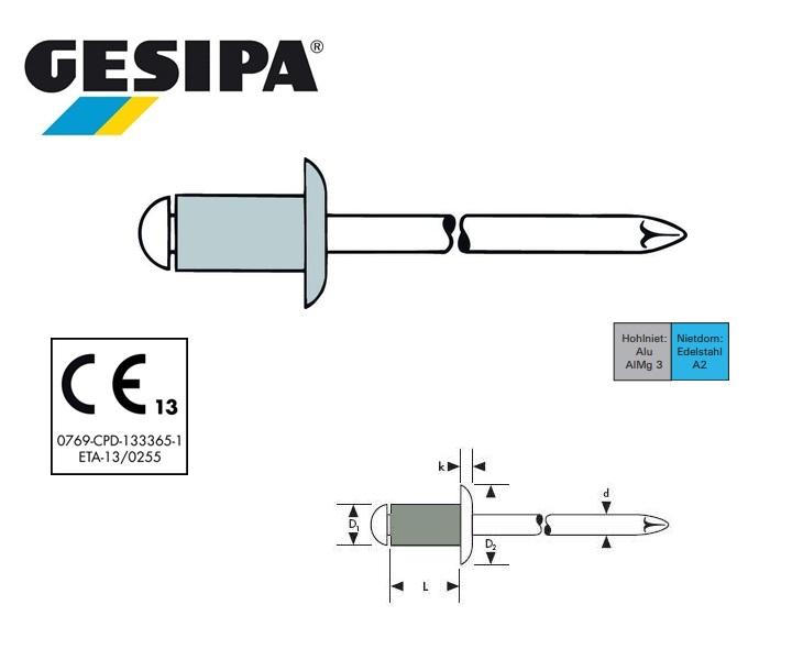 Gesipa Blindklinknagel alu-INOX platbol 3 x 6mm 1.5 - 3.5mm