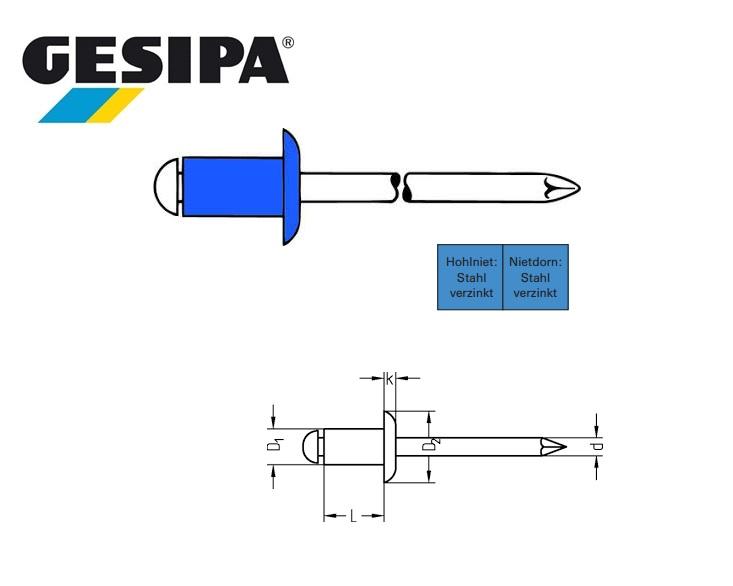 Gesipa Blindklinknagel staal-staal platbol 3 x 5mm 0.5 - 2.0mm