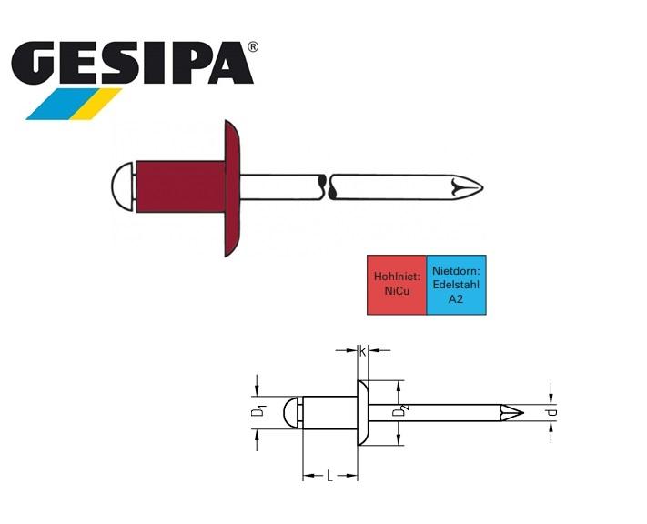 Gesipa Blindklinknagel MONEL-INOX K15 4.8x14mm GK 8.0 - 9.5mm