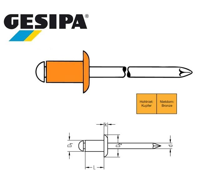 Gesipa Blindklinknagel koper-brons platbol 3x8mm 3.0 - 5.0mm