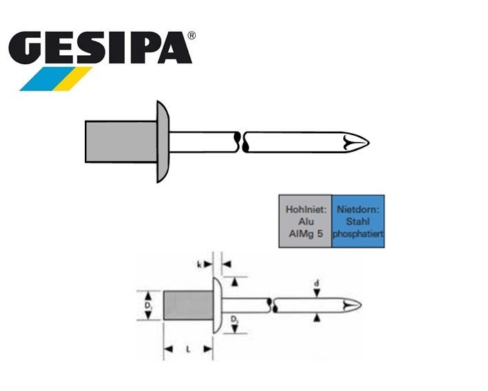 Gas- en vloeistof dichte blindklinknagelnagel alu-st 3.2x6.5mm 0.5 - 2.0mm