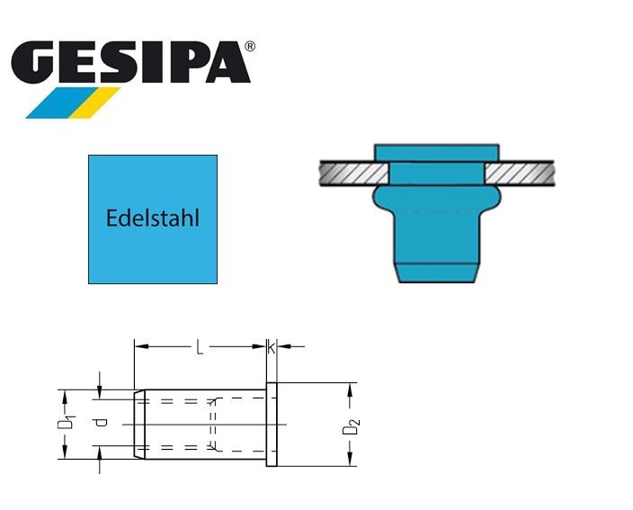 Gesipa blindklinkmoer Vlakrondkop Inox M 4x 6x11.0 0.25 - 3.0mm