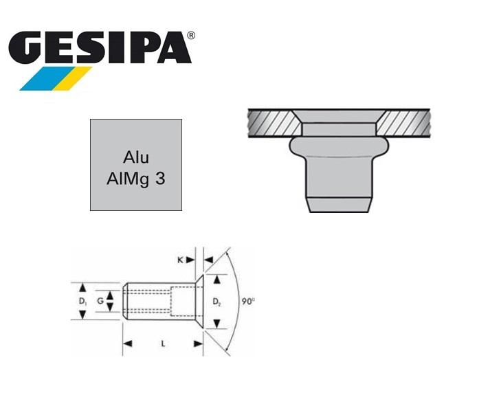 Gesipa blindklinkmoer verzonken kop 90gr aluminium M 5x 7x13.5 1.5 - 4.0mm