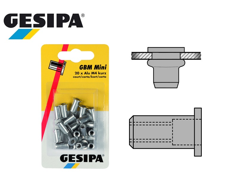 Gesipa Blindklinkmoer Alu M4 short Mini-Pack 0.25 - 3.0mm á 20pc