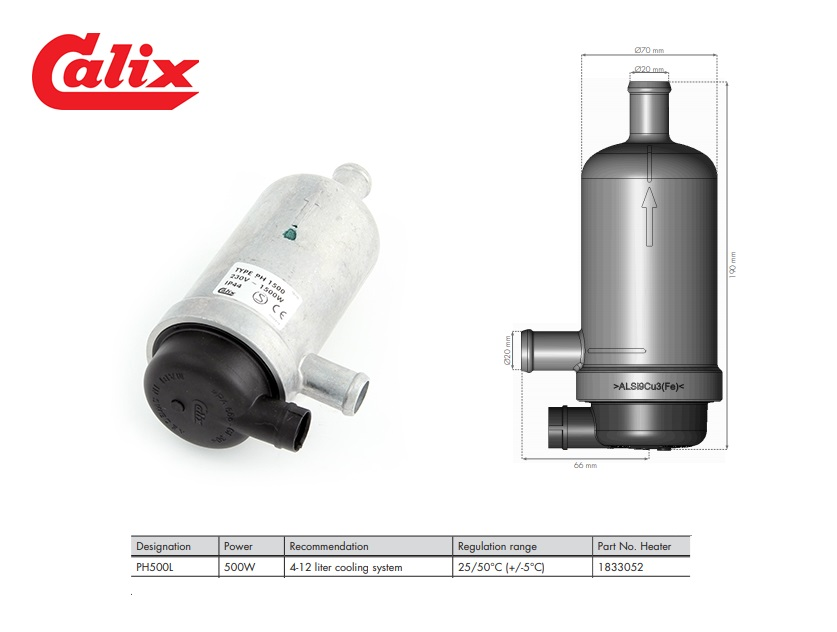 PH500L Heater 500W 4-12 liter cooling system 25/50°C (+/-5°C)