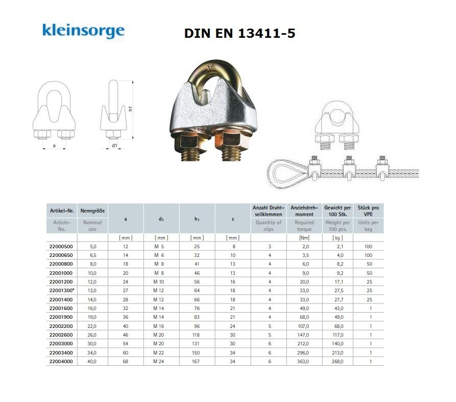 Staaldraadklem DIN EN 13411-5 NG 5 galv. verzinkt