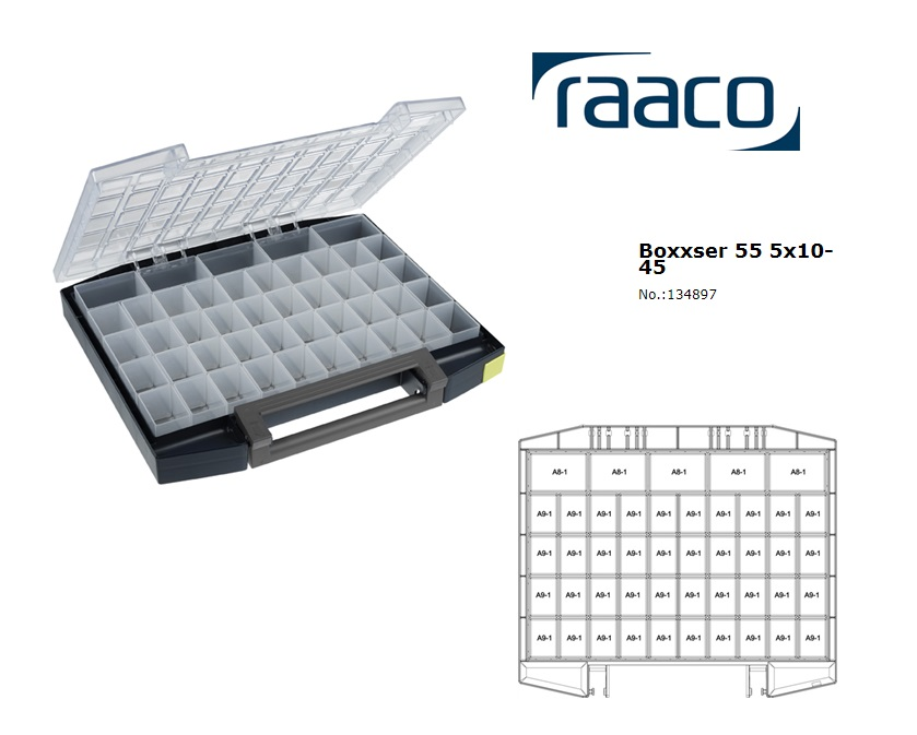Raaco Boxxser 55 5x10-45 Assortimentsdoos 421x361x55mm