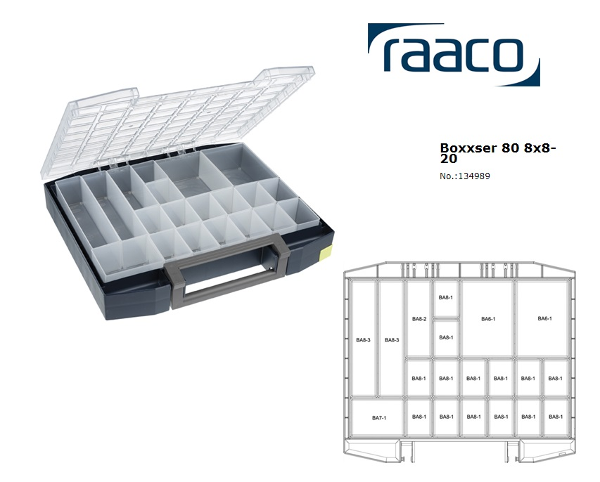 Raaco Boxxser 80 8x8-20 Assortimentsdoos 465x401x78mm