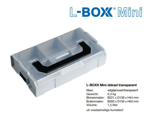 L-BOXX Mini deksel transparent 237,6x149,4x43mm