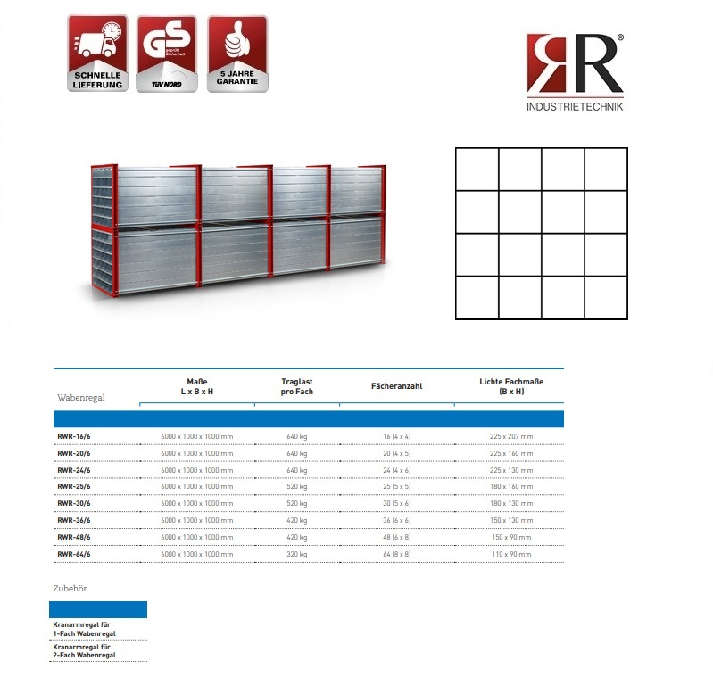 Insteekstelling RWR-16/6 RAL 3000