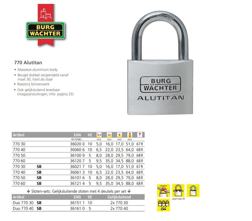 AluTitan Cilinderhangslot 770 30