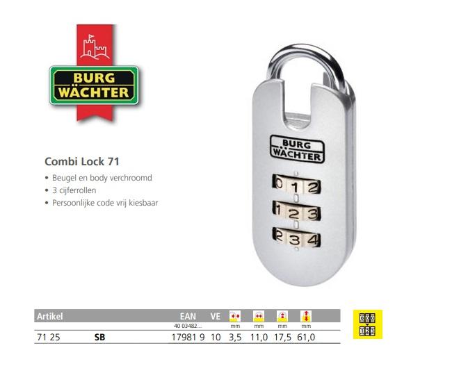 Cijferhangslot Combi Lock 71 25 SB