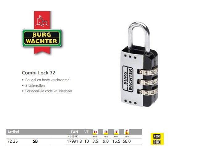 Cijferhangslot Combi Lock 72 25 SB
