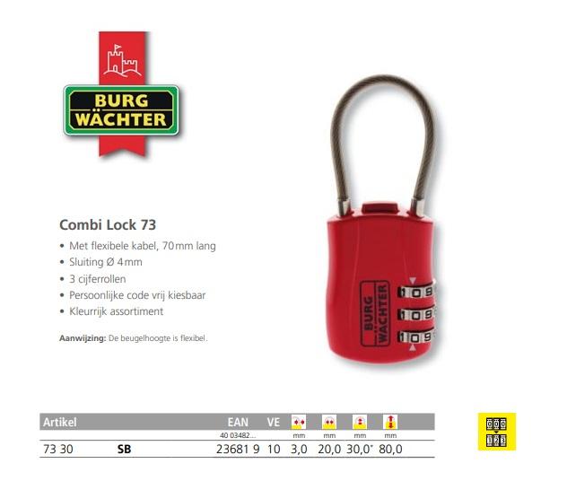 Cijferhangslot Combi Lock 73 30 SB