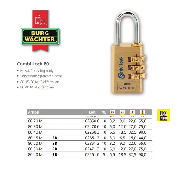 Combi Lock 80 20 M