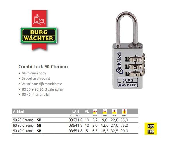 Combi Lock 90 Chromo 20 Chromo SB