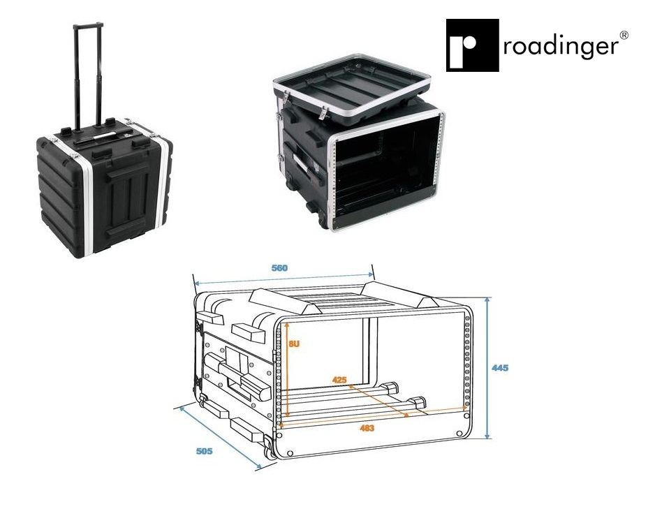 Plastic Rack 19 7u Trolley Roadinger 30106060