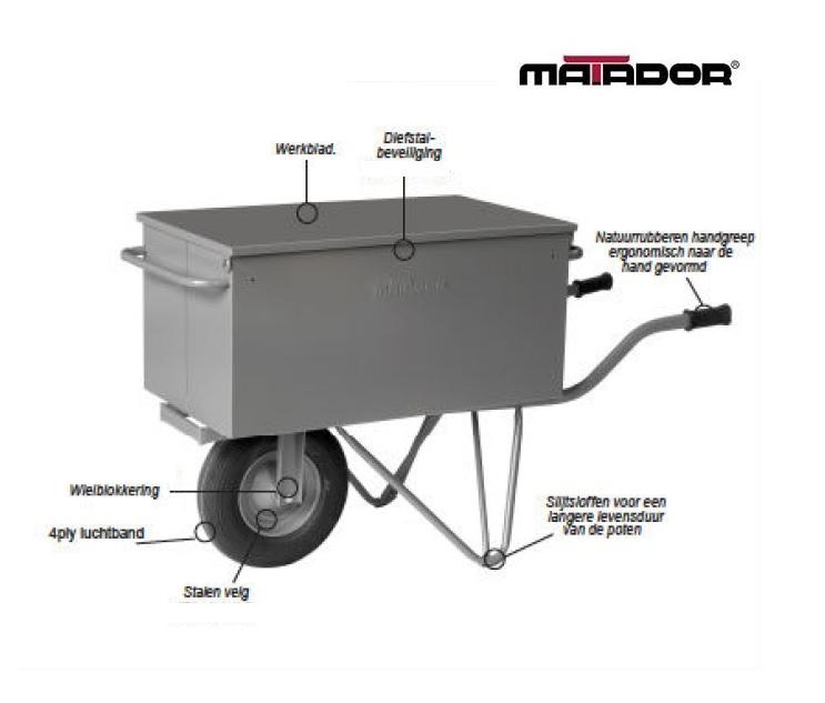 Gereedschap kruiwagen M-106-L4 luchtband Matador 10829