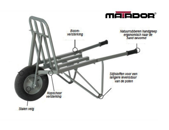 Steenkruiwagen M-210-CT versterkt lekvrij wiel Matador 10918
