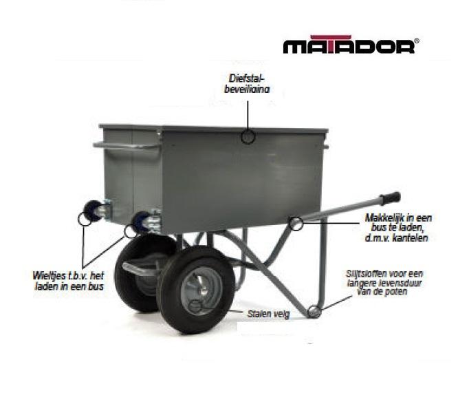 Kantelbare gereedschap kruiwagen M 106 L4 KANT 2WI luchtbanden Matador