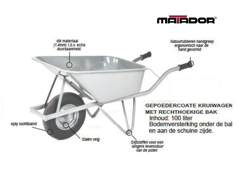 Rechthoekige kruiwagen 100 liter luchtband M-120-L4 RH Matador 12145