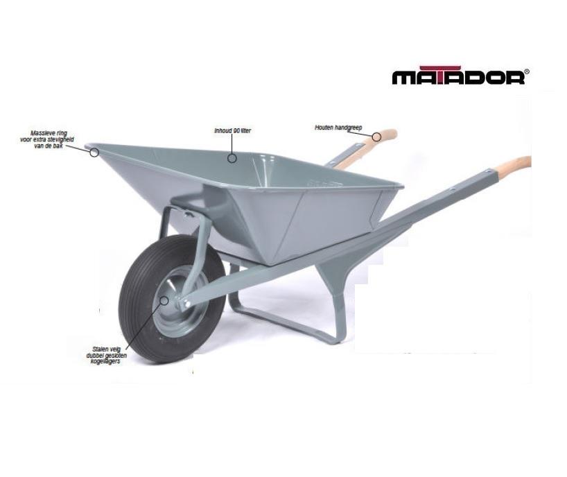 Rechthoekige kruiwagen M-K1-L4 luchtband Matador 12324