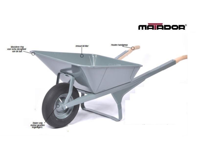 Rechthoekige kruiwagen M-K1-CT lekvrij wiel Matador 12409