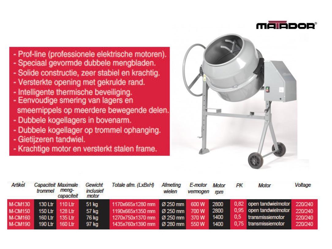 Betonmolen CM130 130 liter Matador 13479