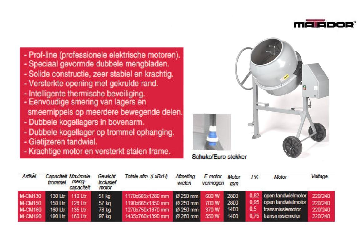 Betonmolen CM160 160 liter Matador 13481