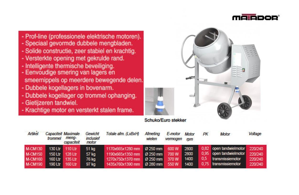 Betonmolen CM190 190 liter Matador 13482