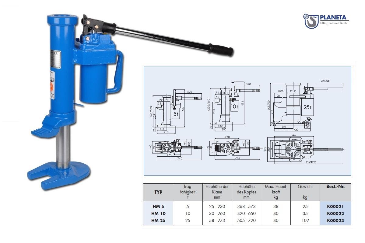 Hydraulische machinelift HM 5Ton Planeta K00021