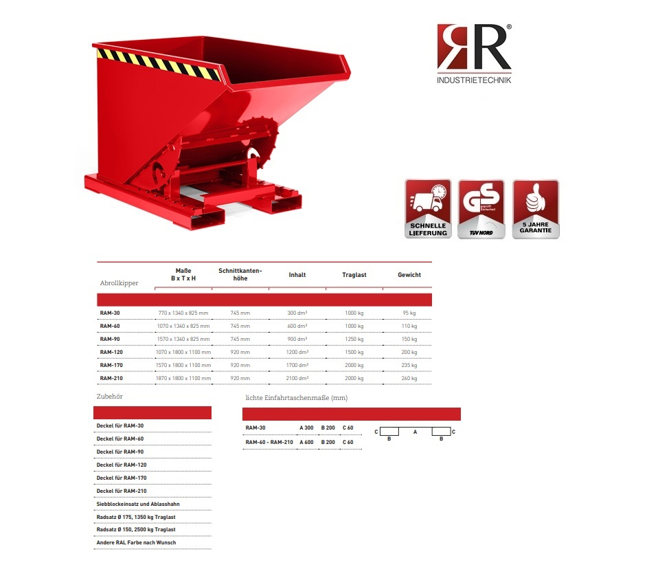 Kantelbak Typ RAM-30 RAL 3000